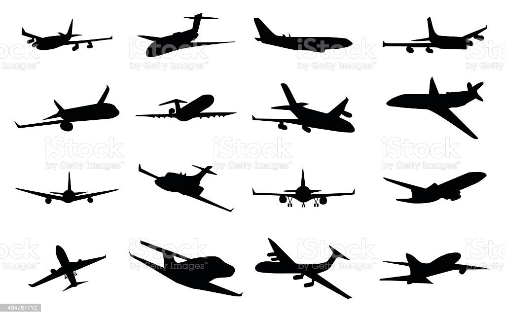 Planes silhouette set vector art illustration