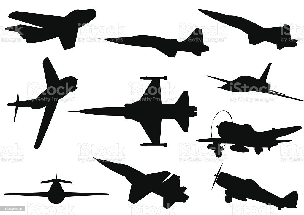 Planes silhouettes vector art illustration