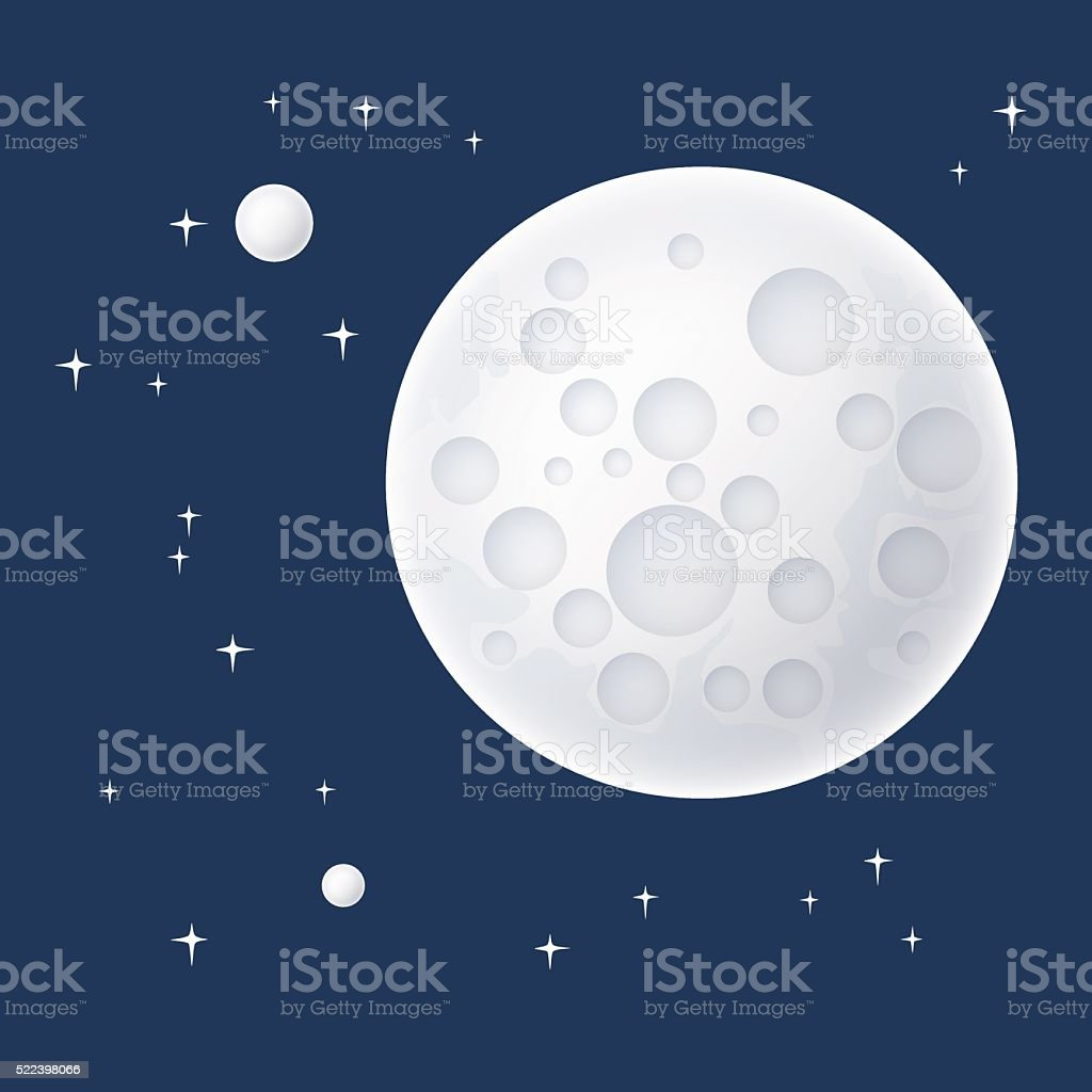 Planet and Stars in Space vector art illustration