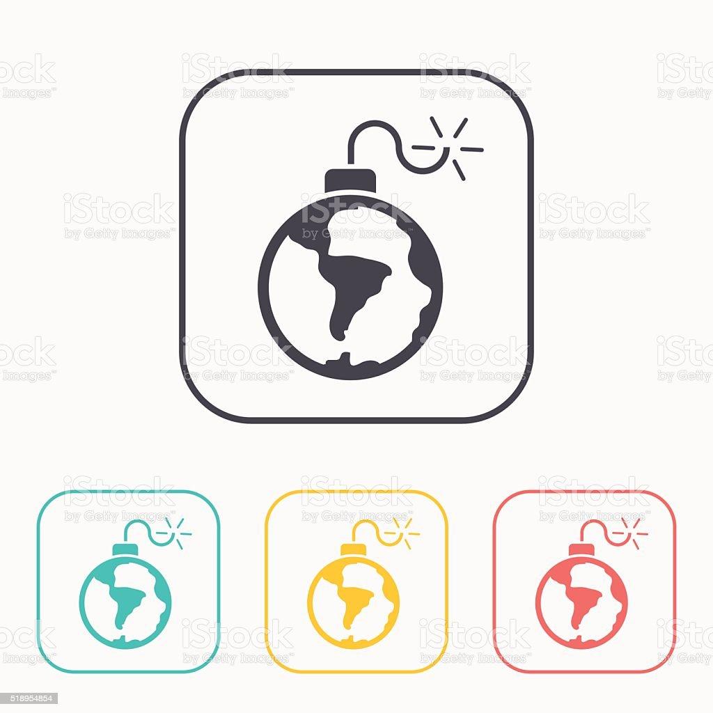 planet bomb vector color icon set vector art illustration