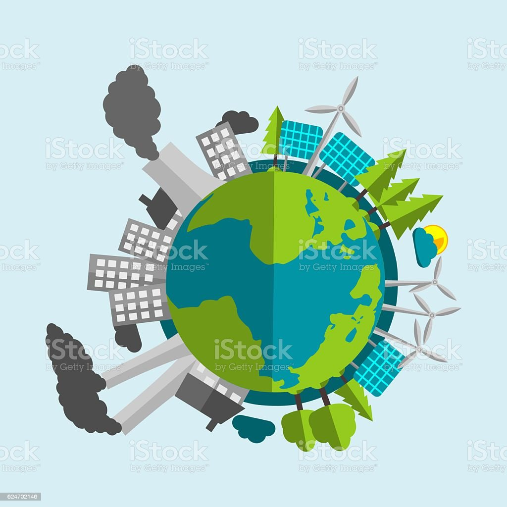 Planet Earth Cartoon Half Filled With Renewables With Industry vector art illustration