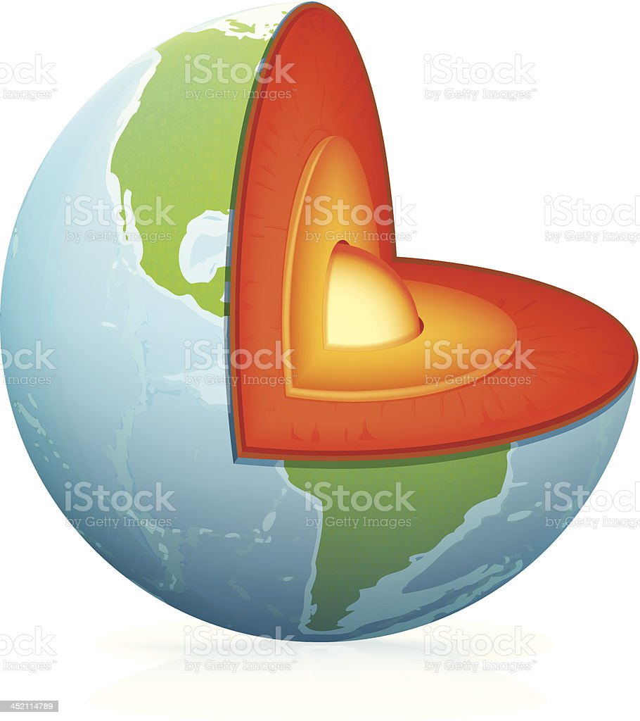 Planet Earth cut vector art illustration