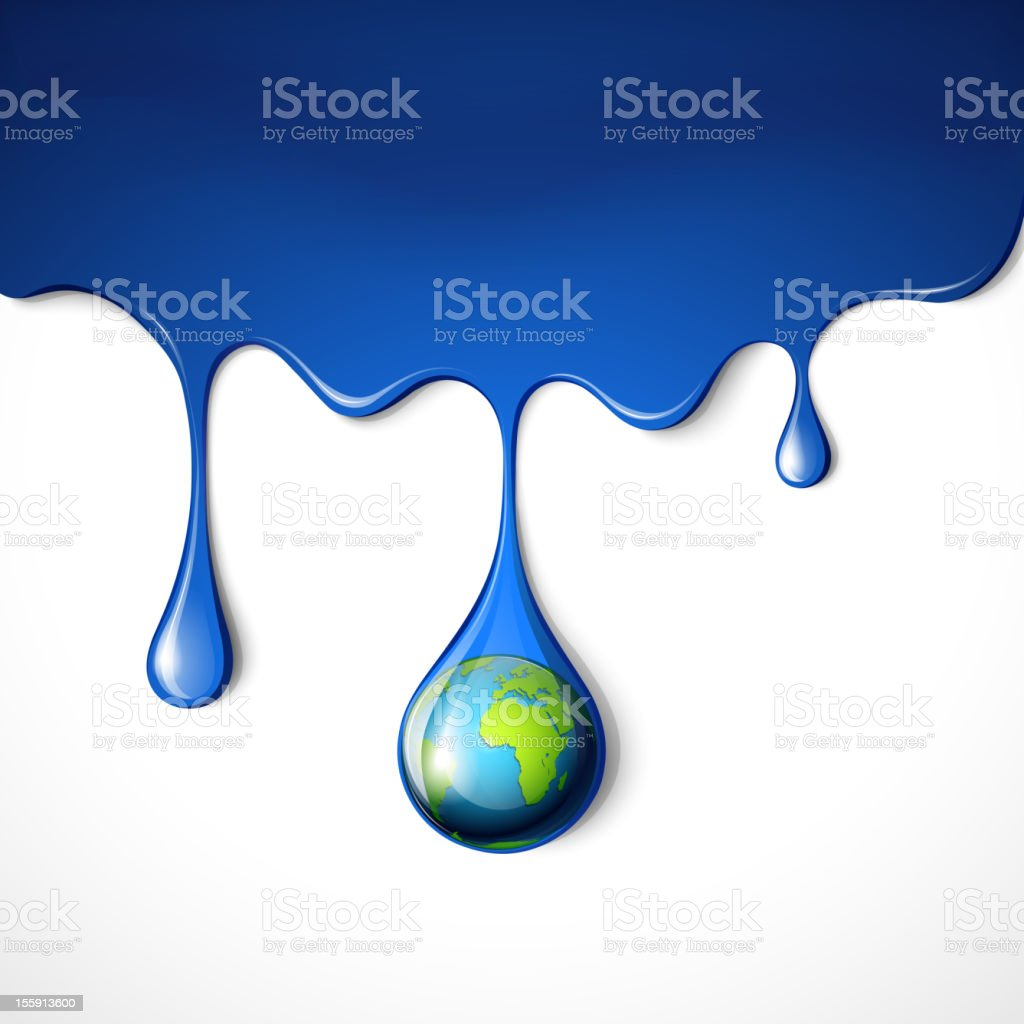 Planet earth in a drop. royalty-free stock vector art