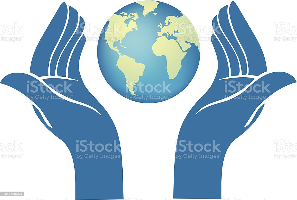 Planet Earth In Hands vector art illustration