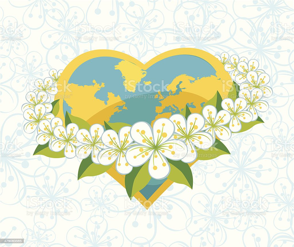 Planet earth in  heartsform with orbit of flovers.Spring background royalty-free stock vector art