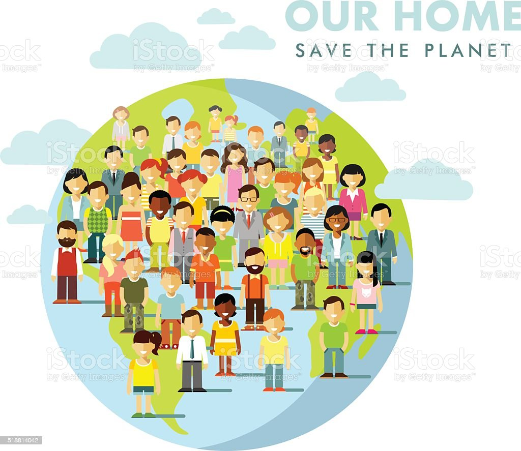 Planet Earth people concept vector art illustration