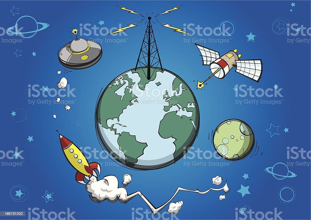 Planet Earth & Satellites royalty-free stock vector art