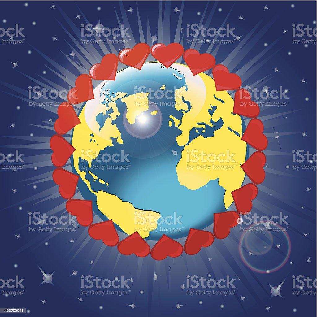 Planet Earth wiht orbit of hearts .Vector Illustration vector art illustration
