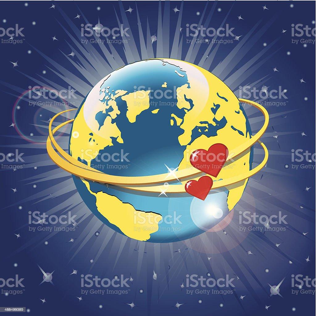 Planet Earth with hearts in orbit.Vector  Illustration vector art illustration