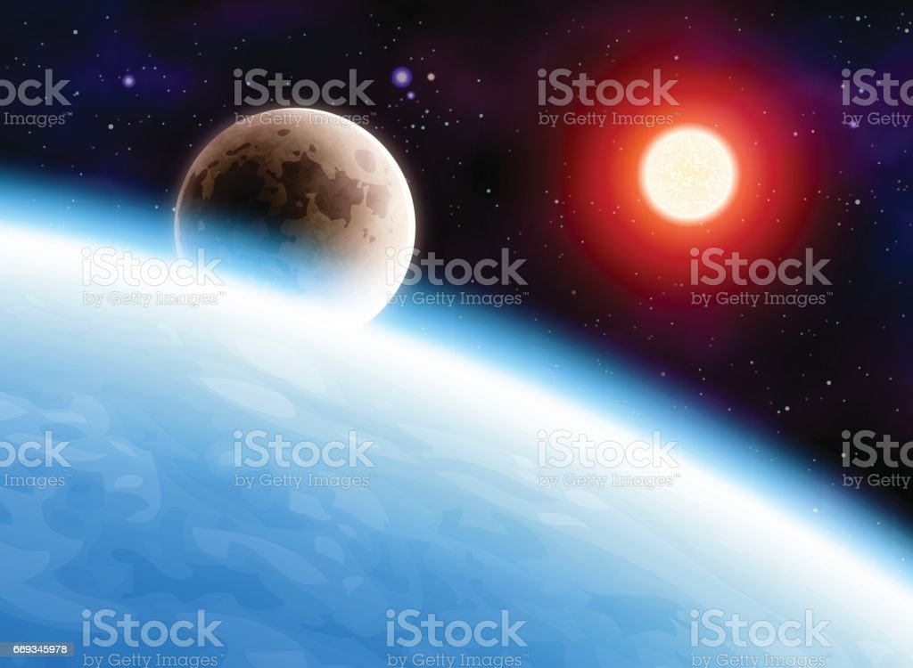 Planet Earth with Moon and Sun vector art illustration