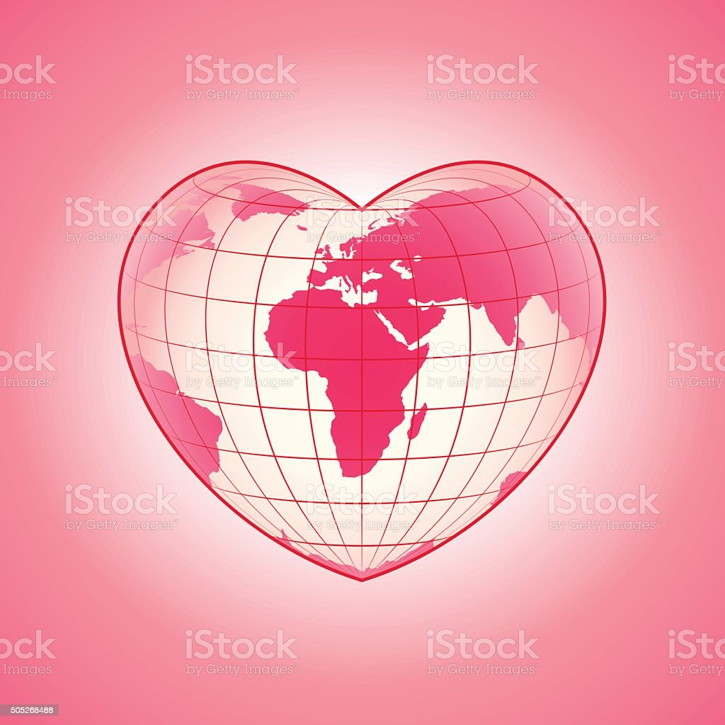 Planet heart new vector art illustration