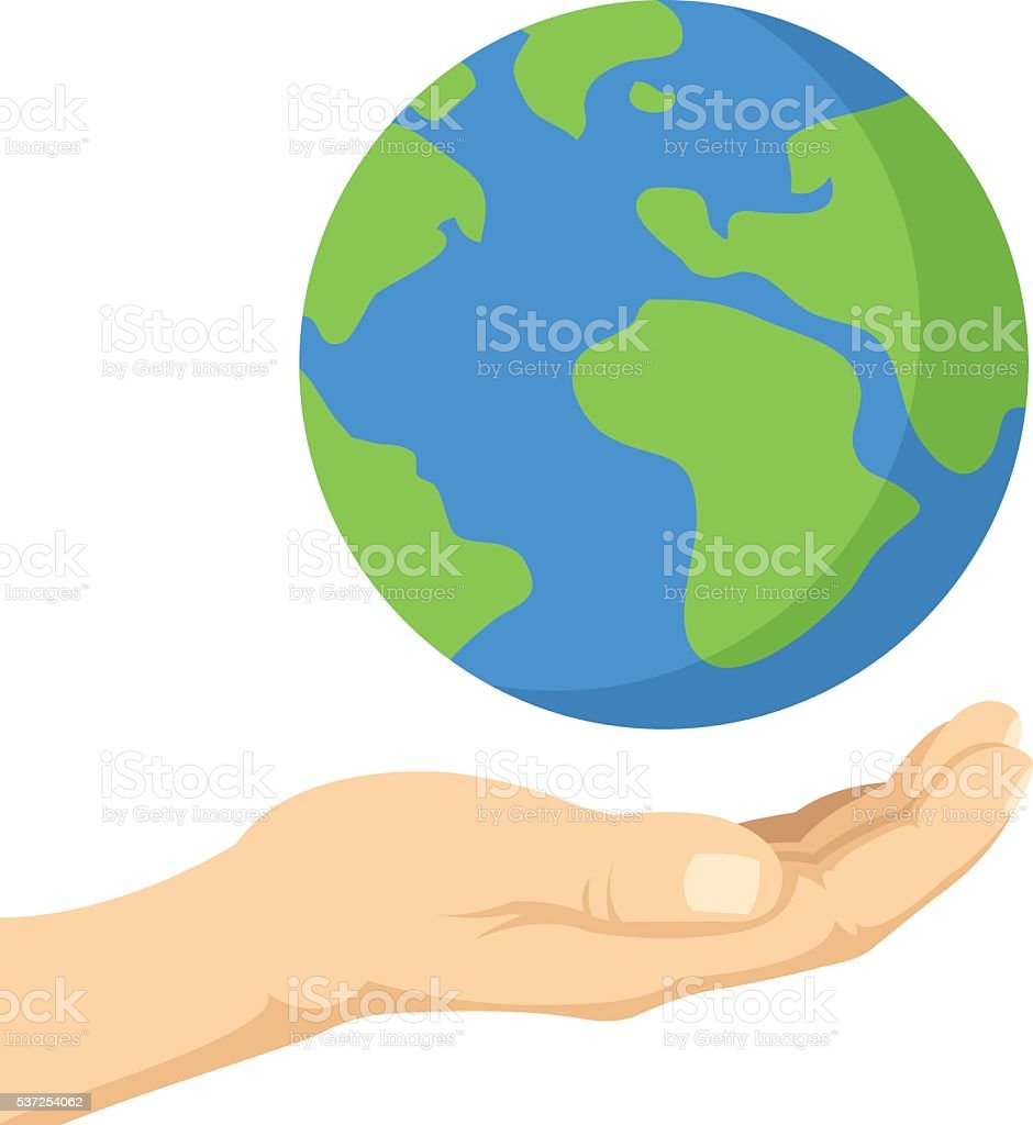 Planet in human hands. Ecology, environment issues, pollution. Vector illustration vector art illustration