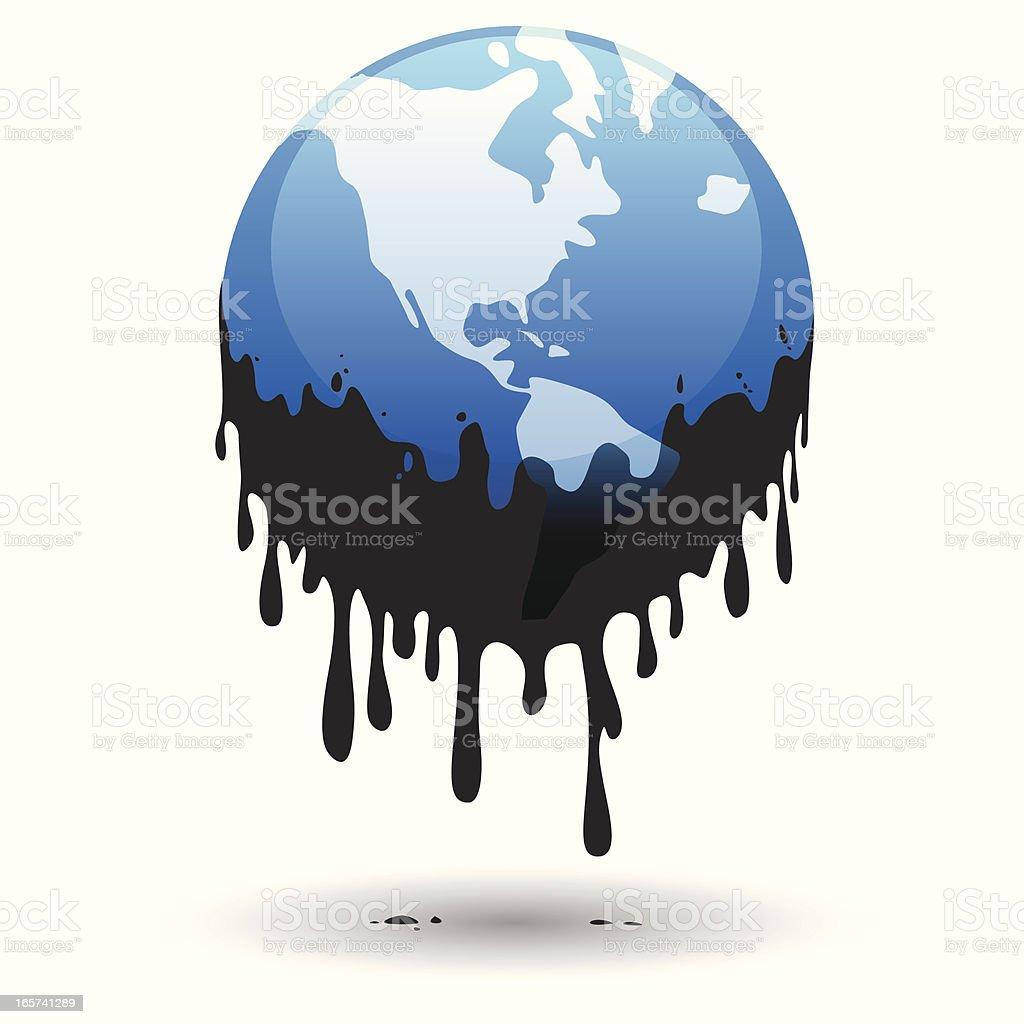 Planet in oil vector art illustration
