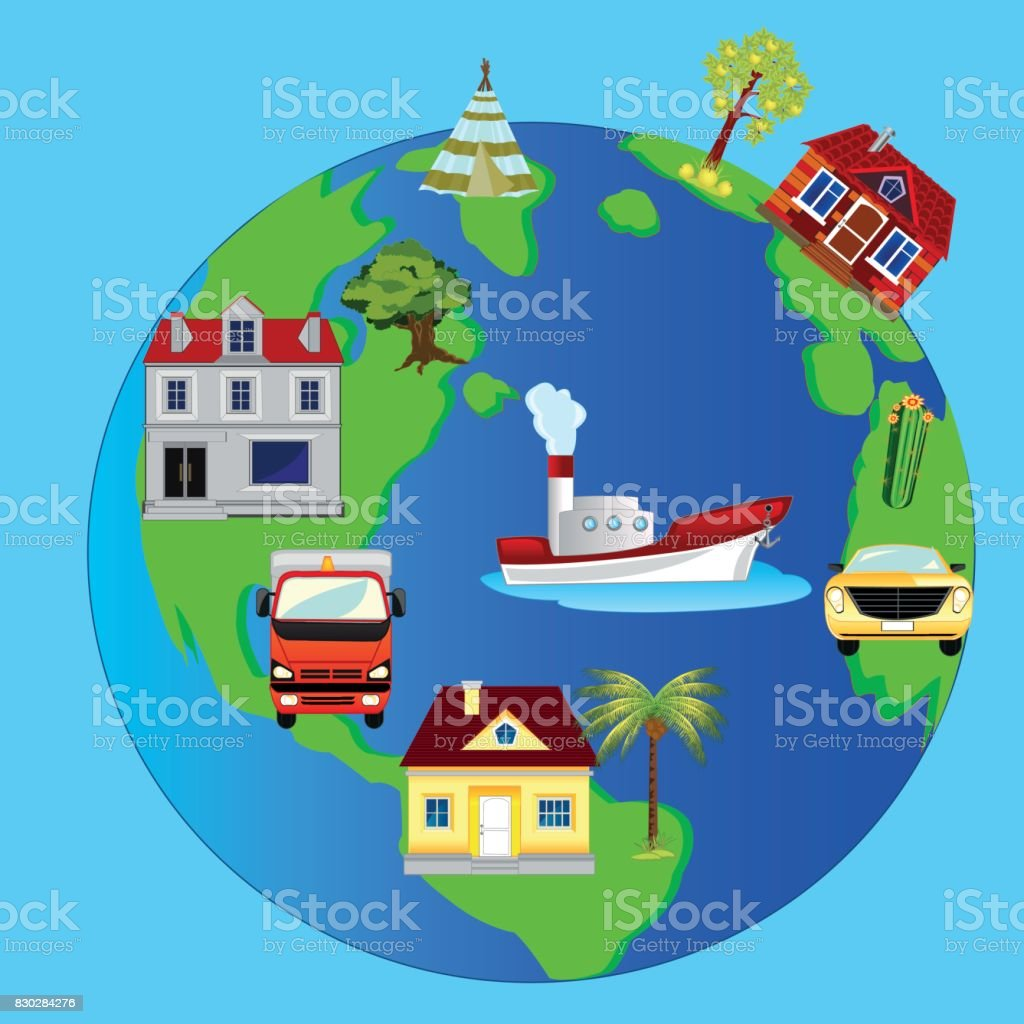 Planet land and building on her vector art illustration
