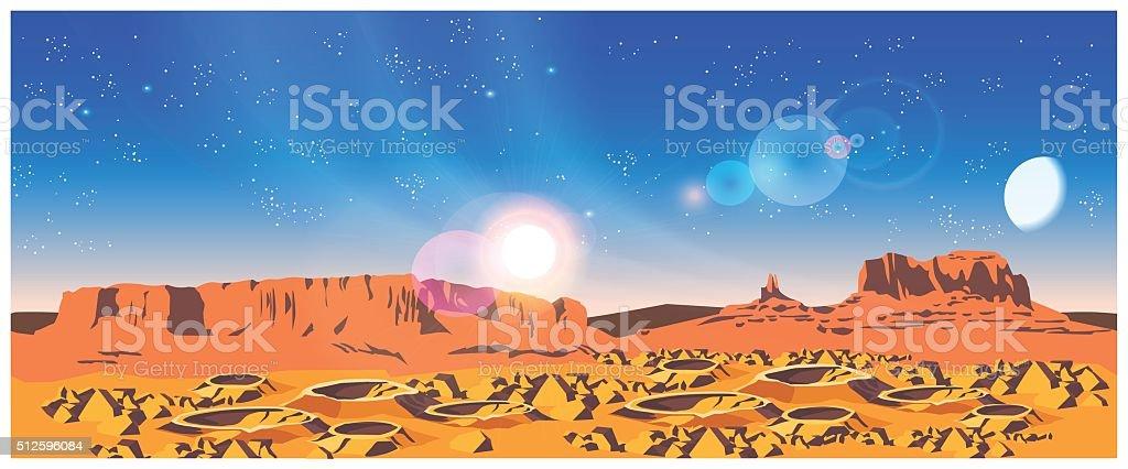Planet Landscape vector art illustration