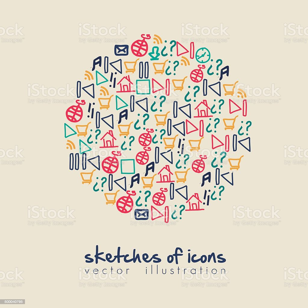 planet of sketches icons royalty-free stock vector art