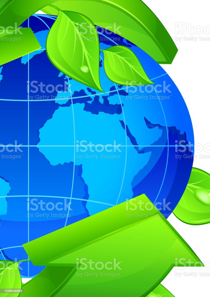 Planet with arrow royalty-free stock vector art