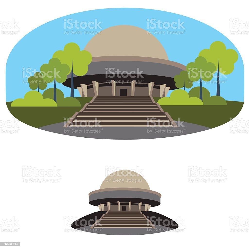 planetarium building vector art illustration