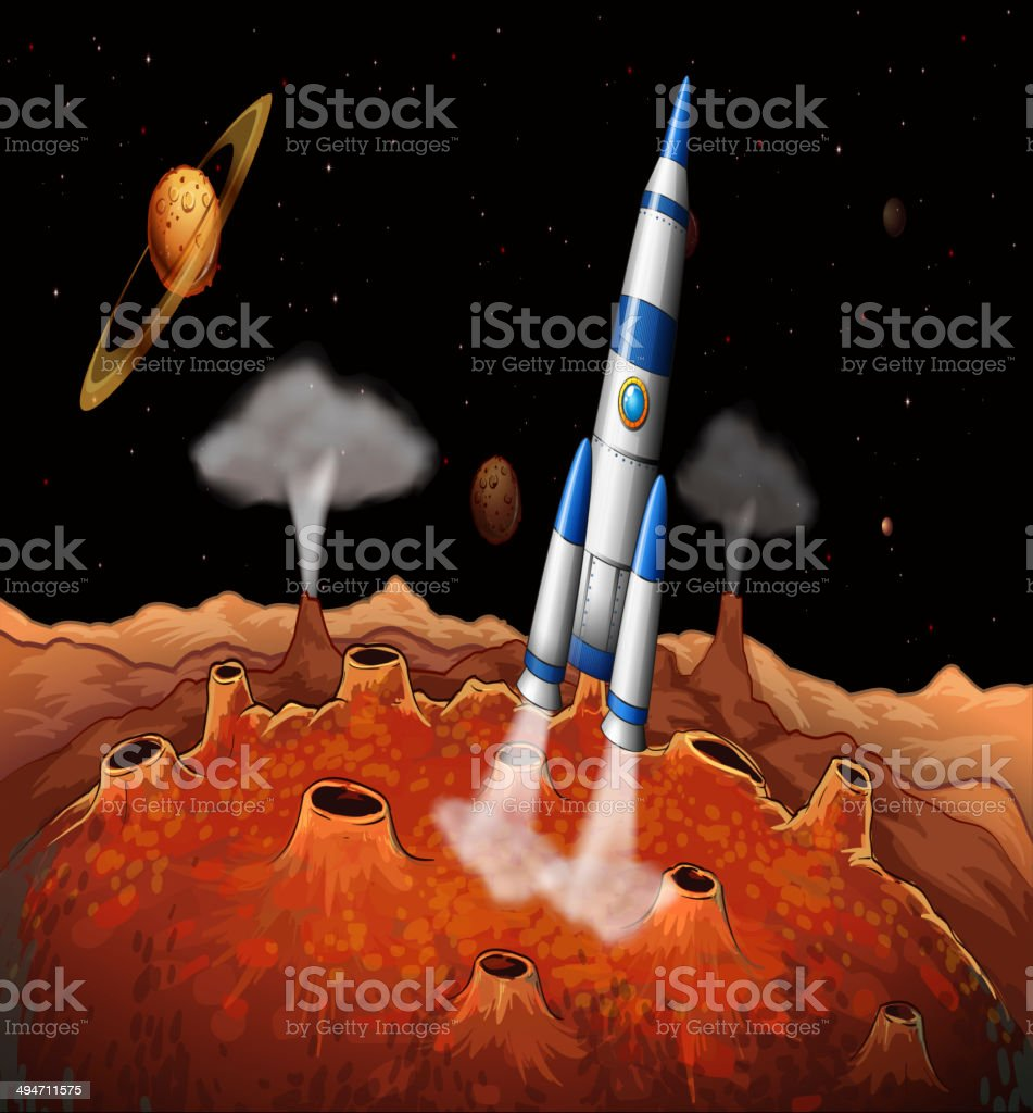 Planets and a spaceship at the outerspace royalty-free stock vector art