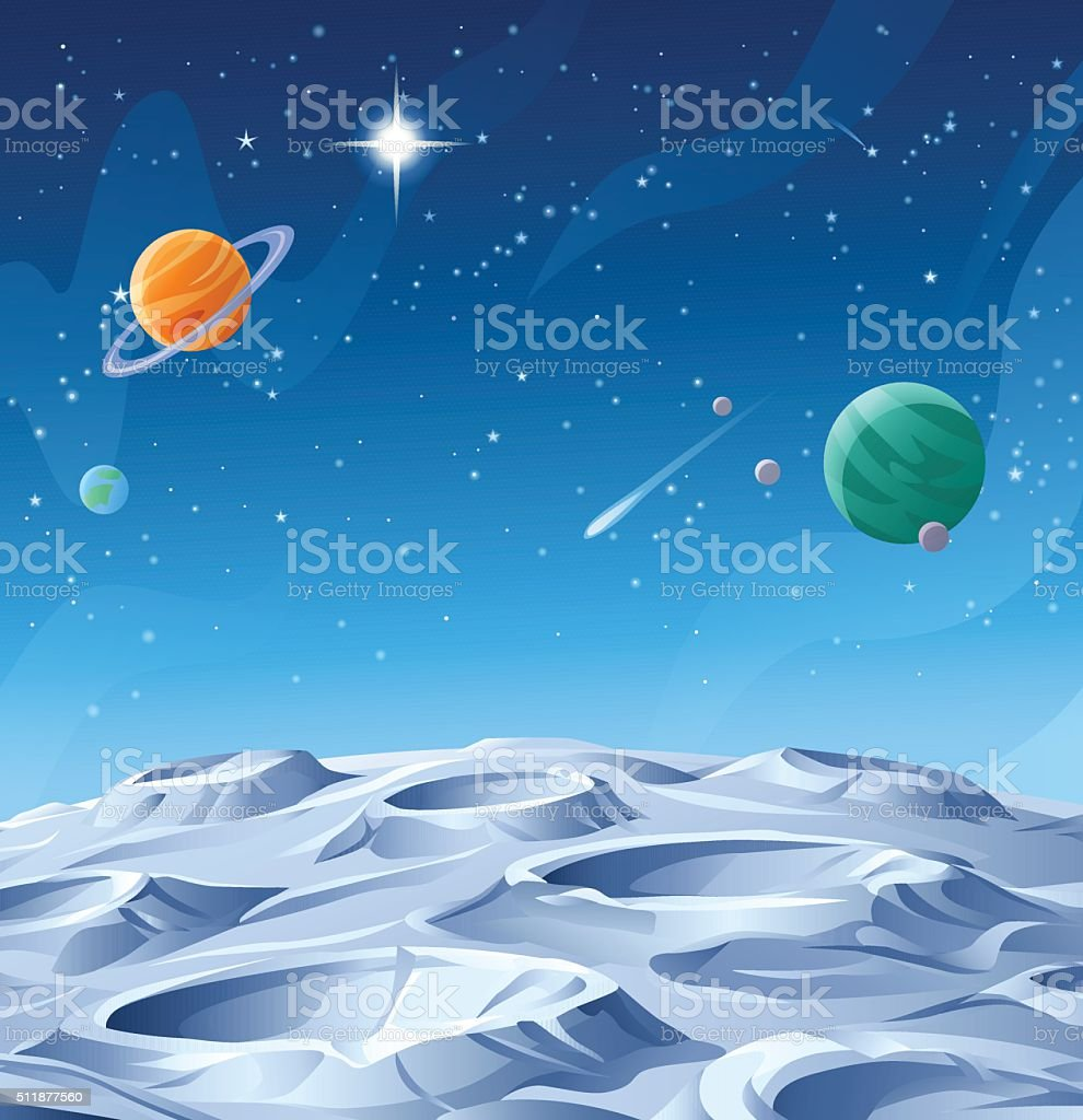 Planets And Asteroids vector art illustration