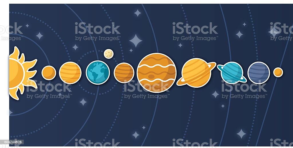 Planets and Solar System vector art illustration