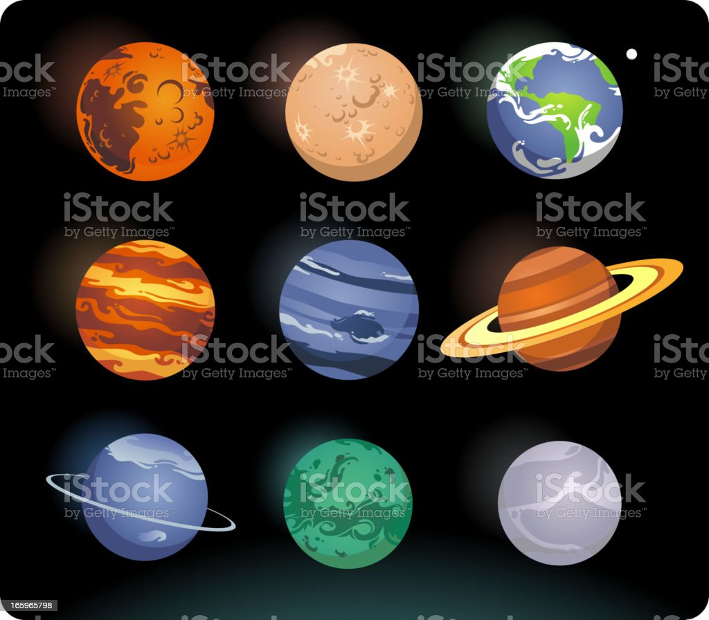9 planets arranged in a square on a black background vector art illustration