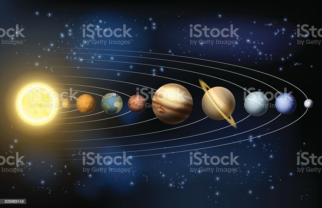 Planets of the Solar system vector art illustration