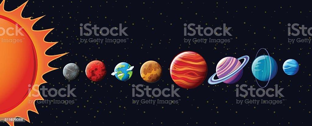 Planets  solar system vector art illustration