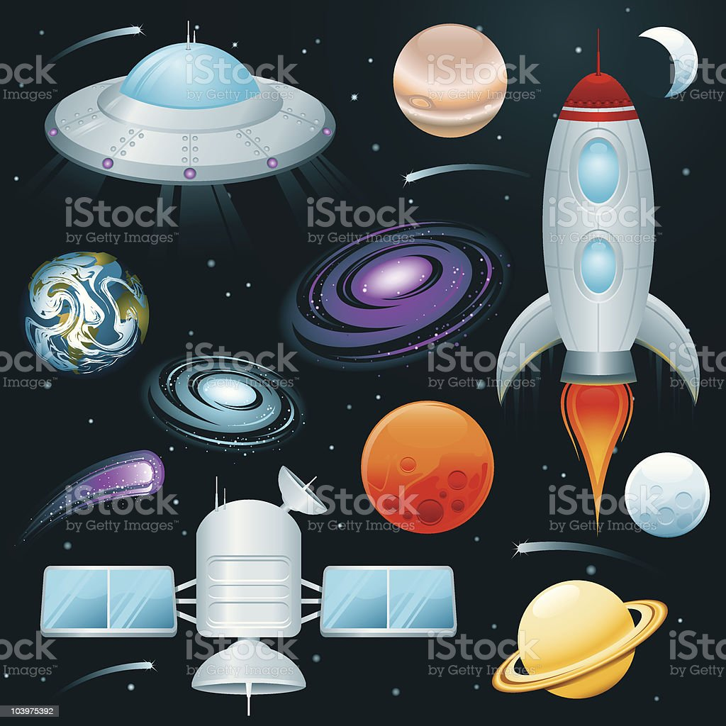 Planets, Space Ships, and Stars Icon Set royalty-free stock vector art