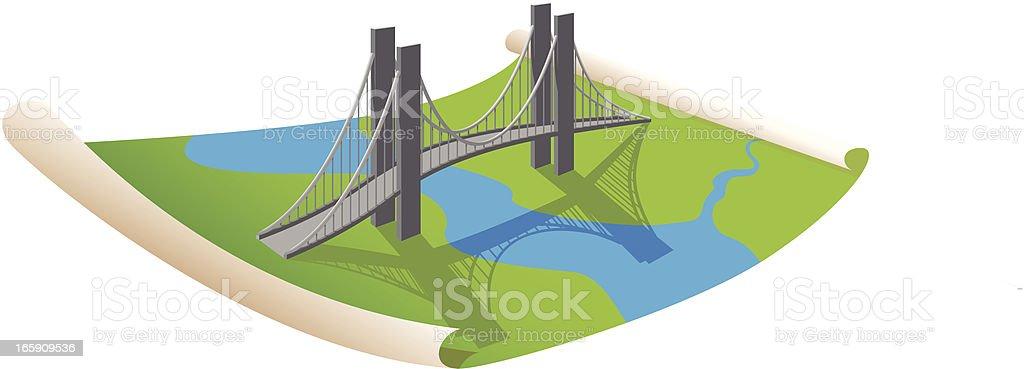 Planing a bridge vector art illustration