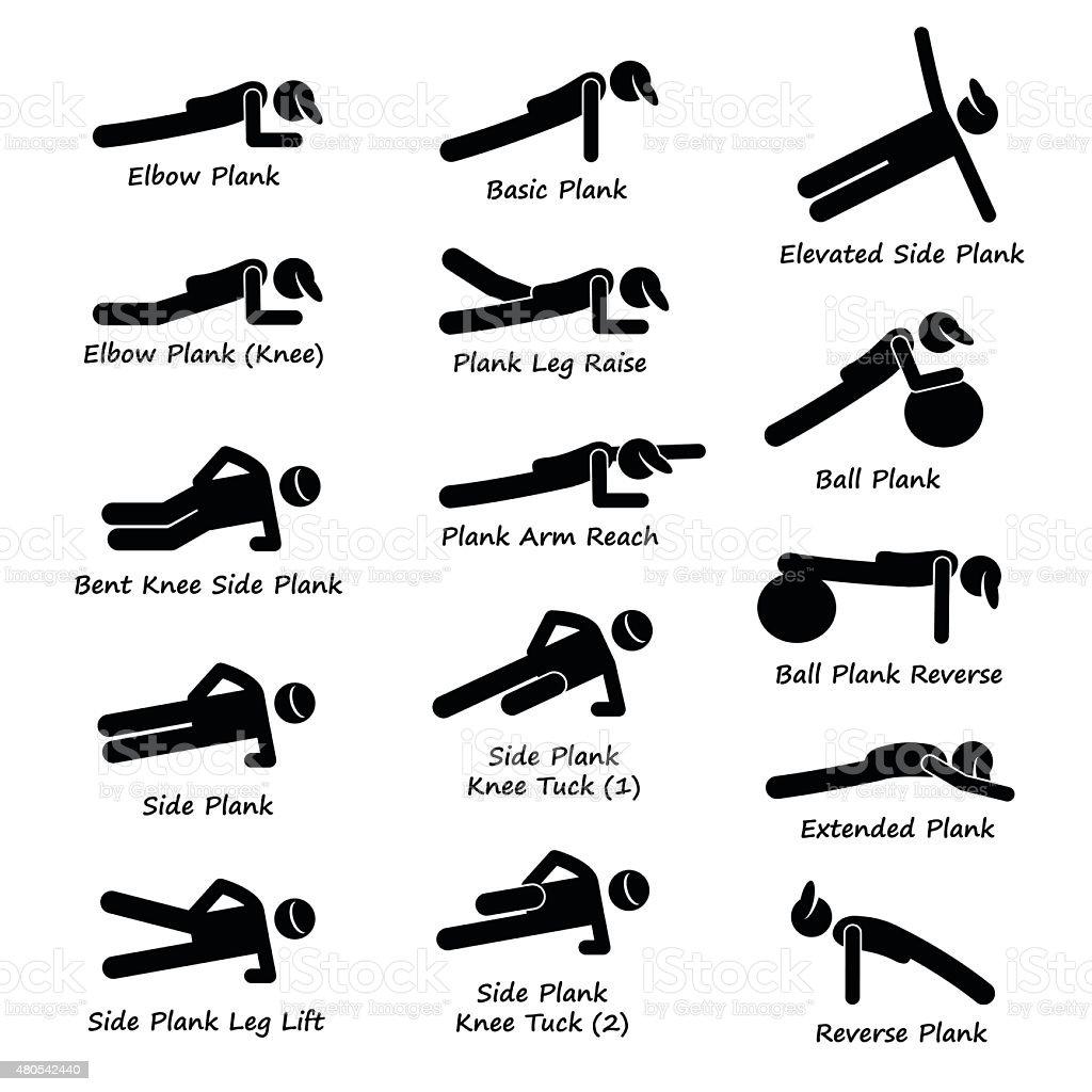 Plank Training Variations Exercise Stick Figure Pictogram Icons vector art illustration