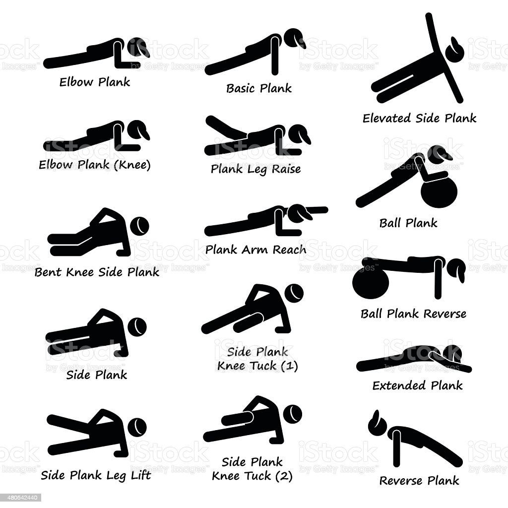Plank Training Variations Exercise Stick Figure Pictogram Icons vector art illustration
