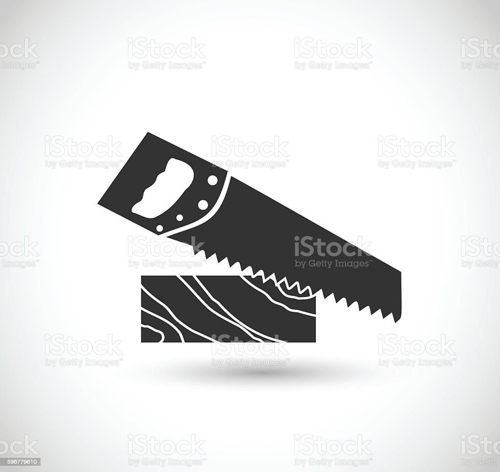 Plank with saw icon vector illustration vector art illustration