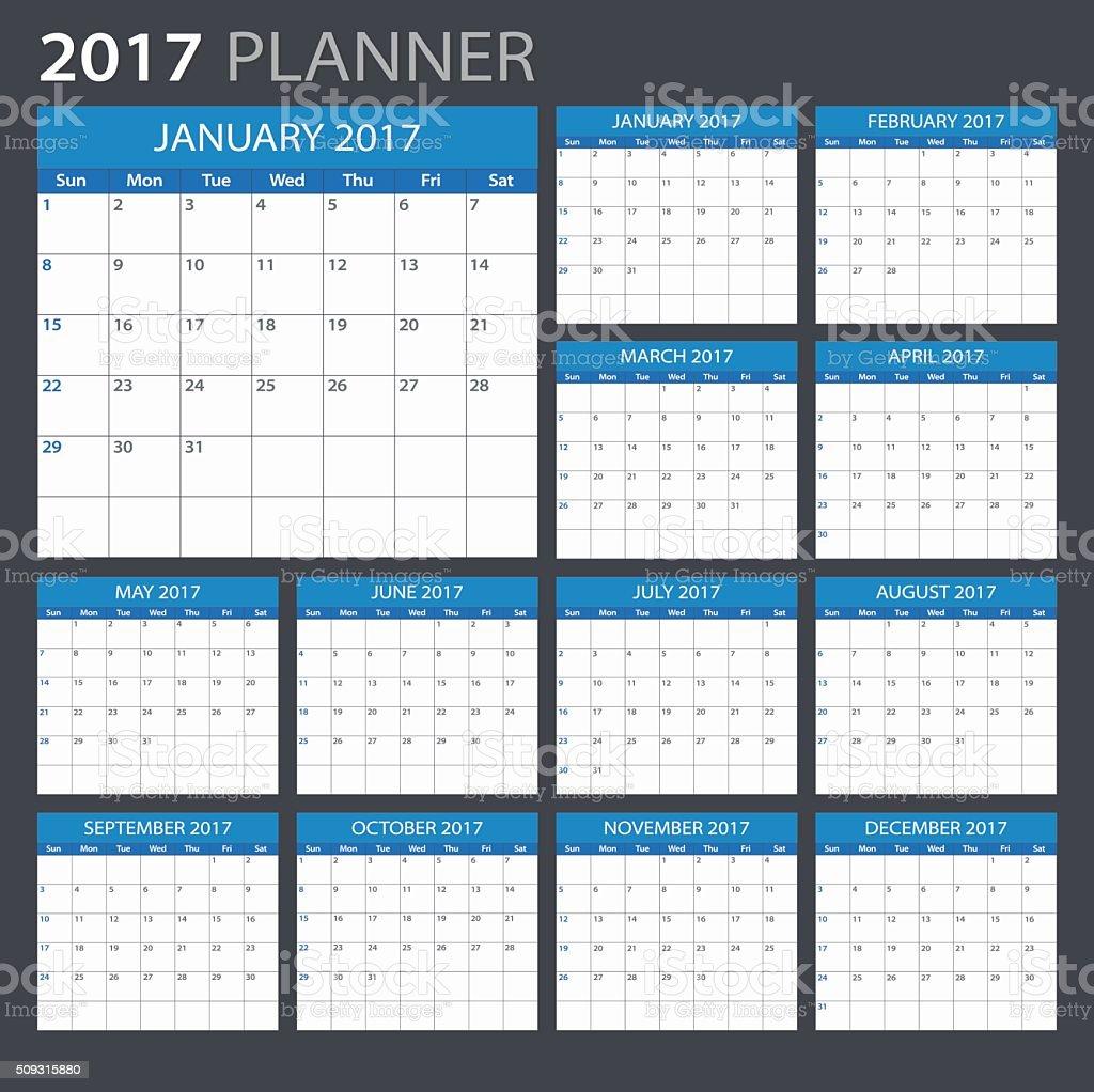 Planner 2017 - illustration vector art illustration