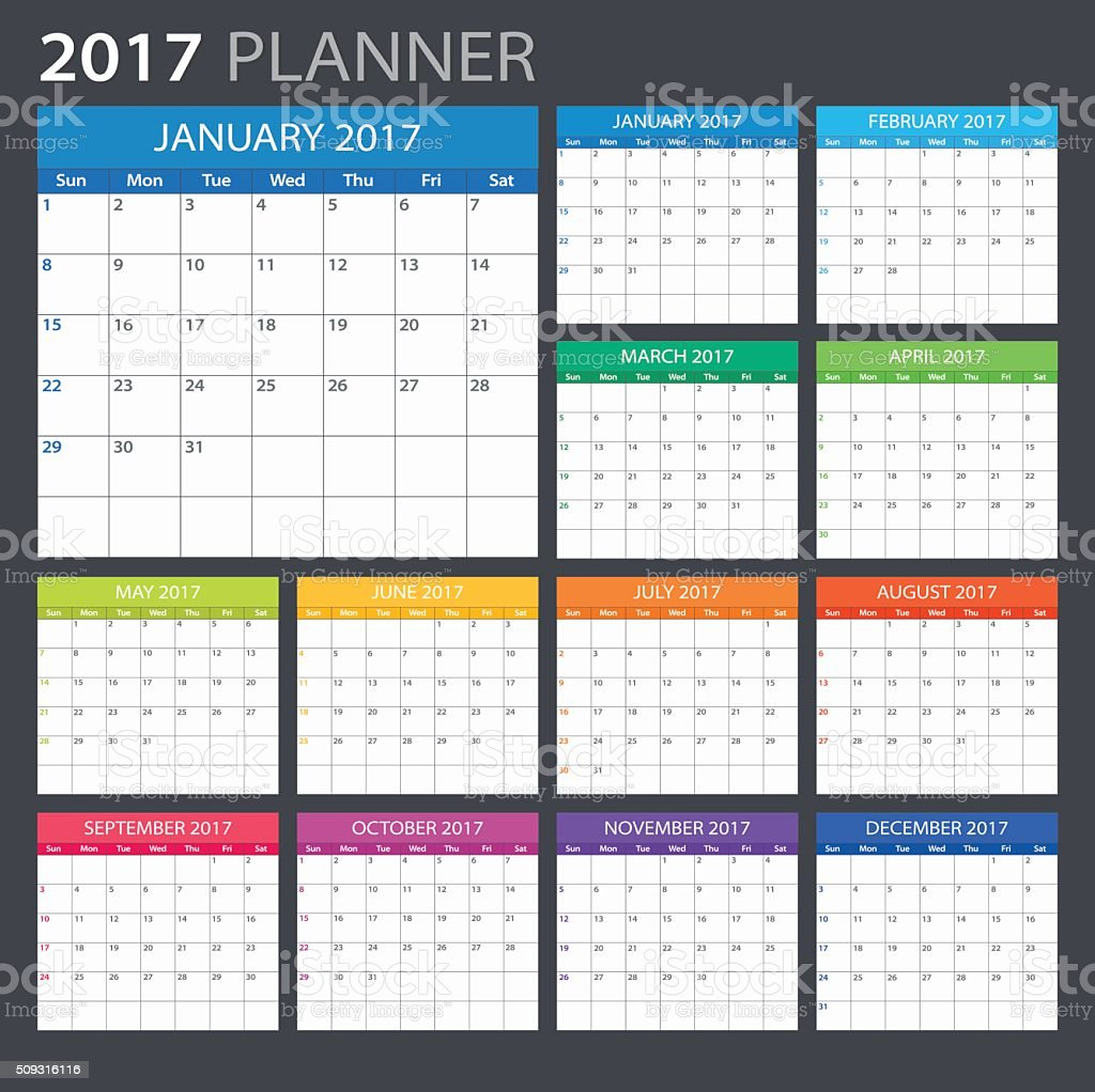 Planner 2017 - illustration vector art illustration