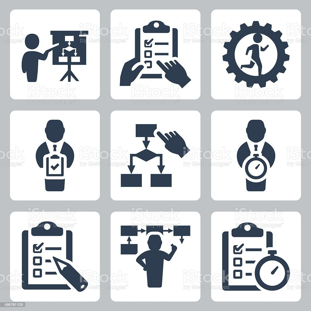 Planning and business strategy vector icons set vector art illustration