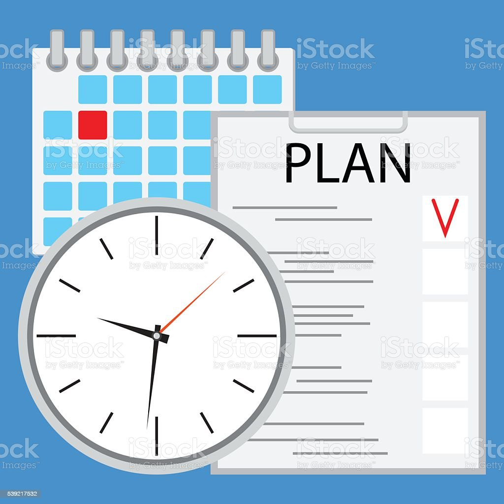 Planning and organization of time flat vector art illustration