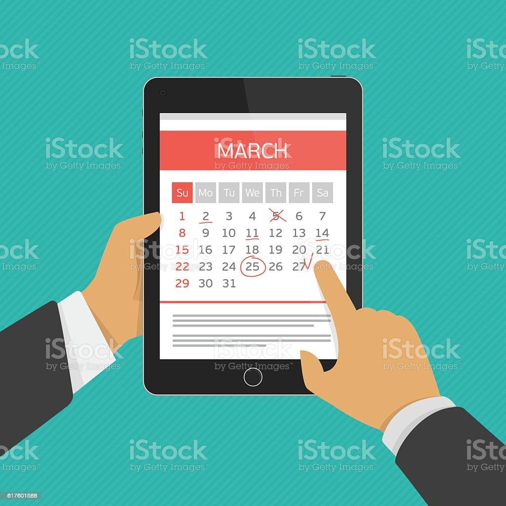 Planning calendar in tablet. vector art illustration