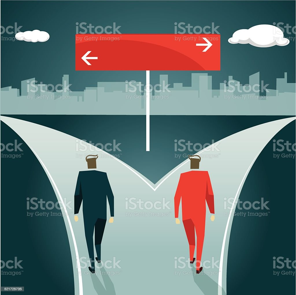 Planning, Choice, Decisions, Separation, Choosing, Direction, Uncertainty vector art illustration