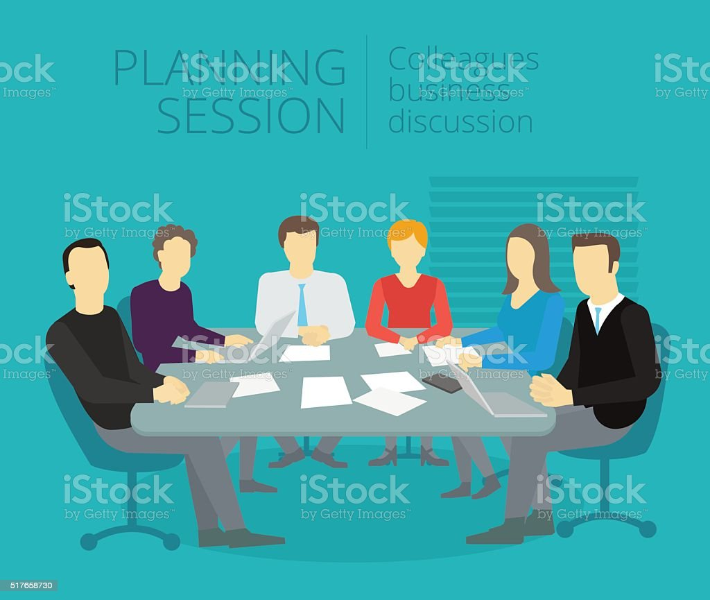 Planning session People work at the table vector art illustration