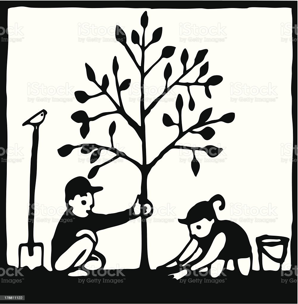 Plant a Tree royalty-free stock vector art