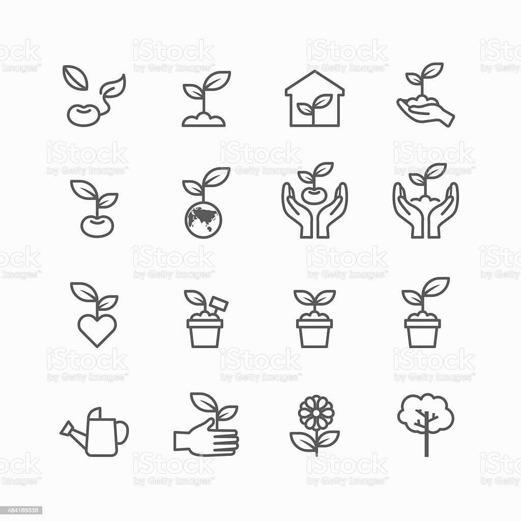 plant and sprout growing icons flat line design vector vector art illustration