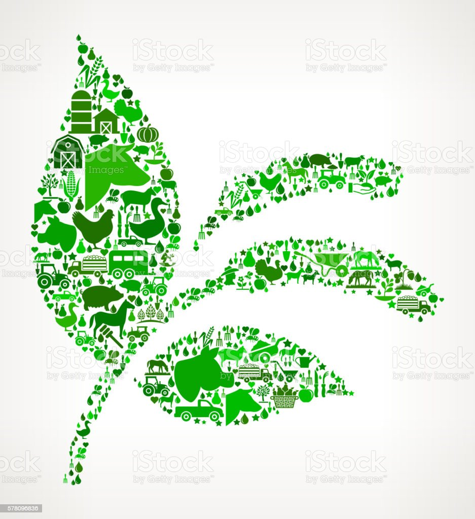 Plant Farming and Agriculture Green Icon Pattern vector art illustration