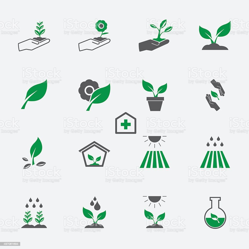 plant icon set vector art illustration