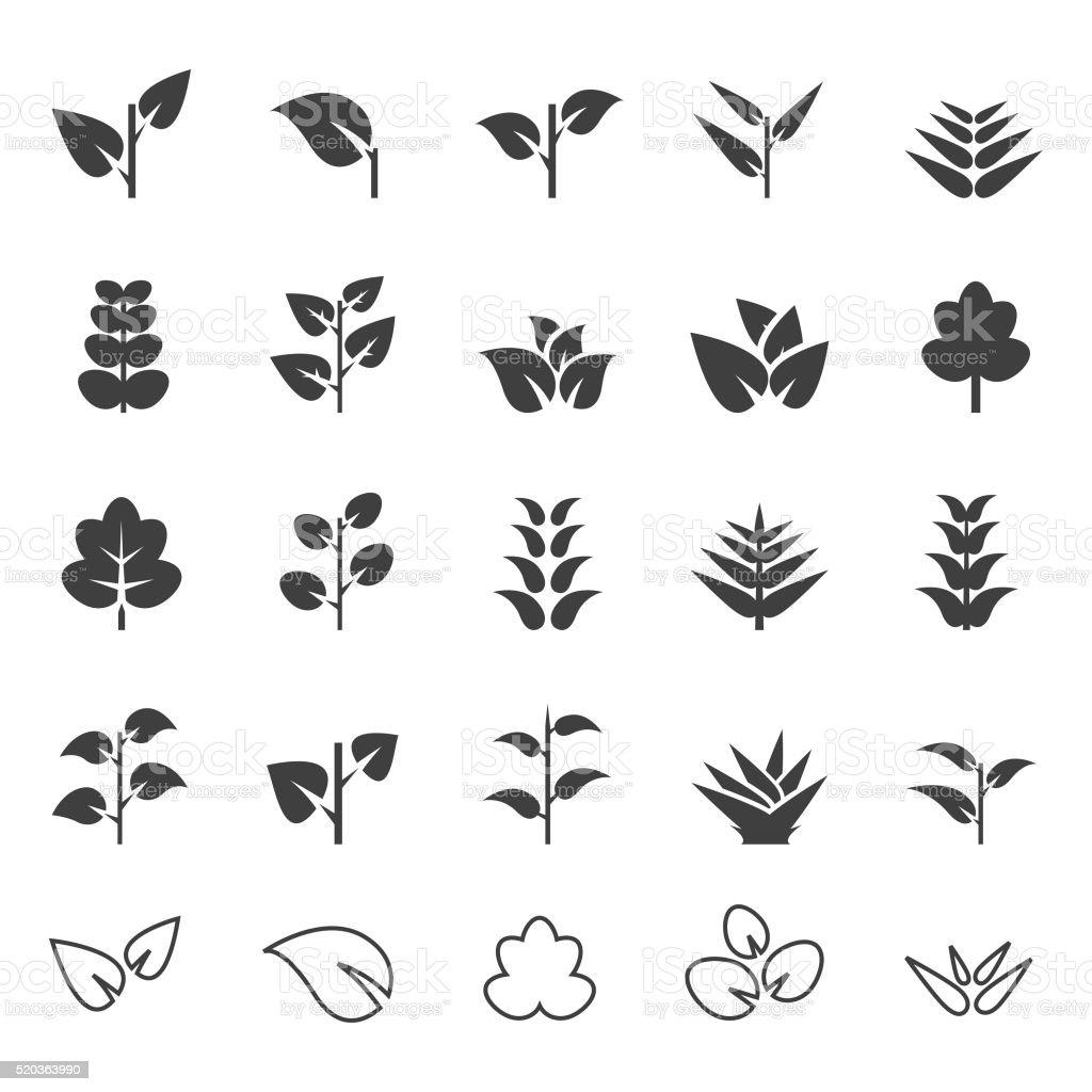 Plant icon set vector art illustration
