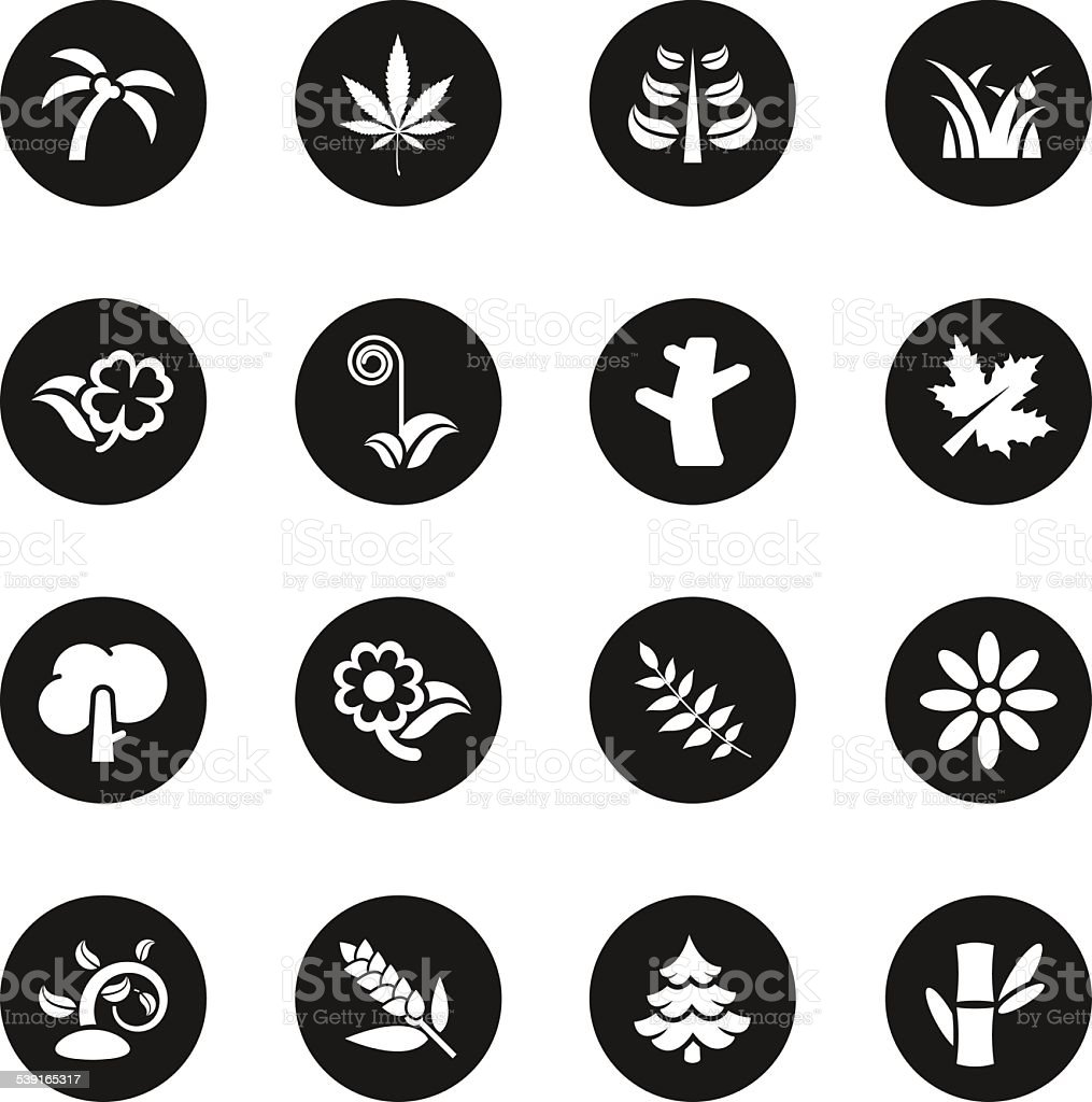 Plant Icons - Black Circle Series vector art illustration
