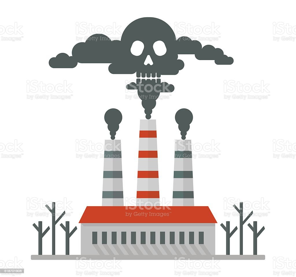 plant pollutes air deadly smoke vector art illustration