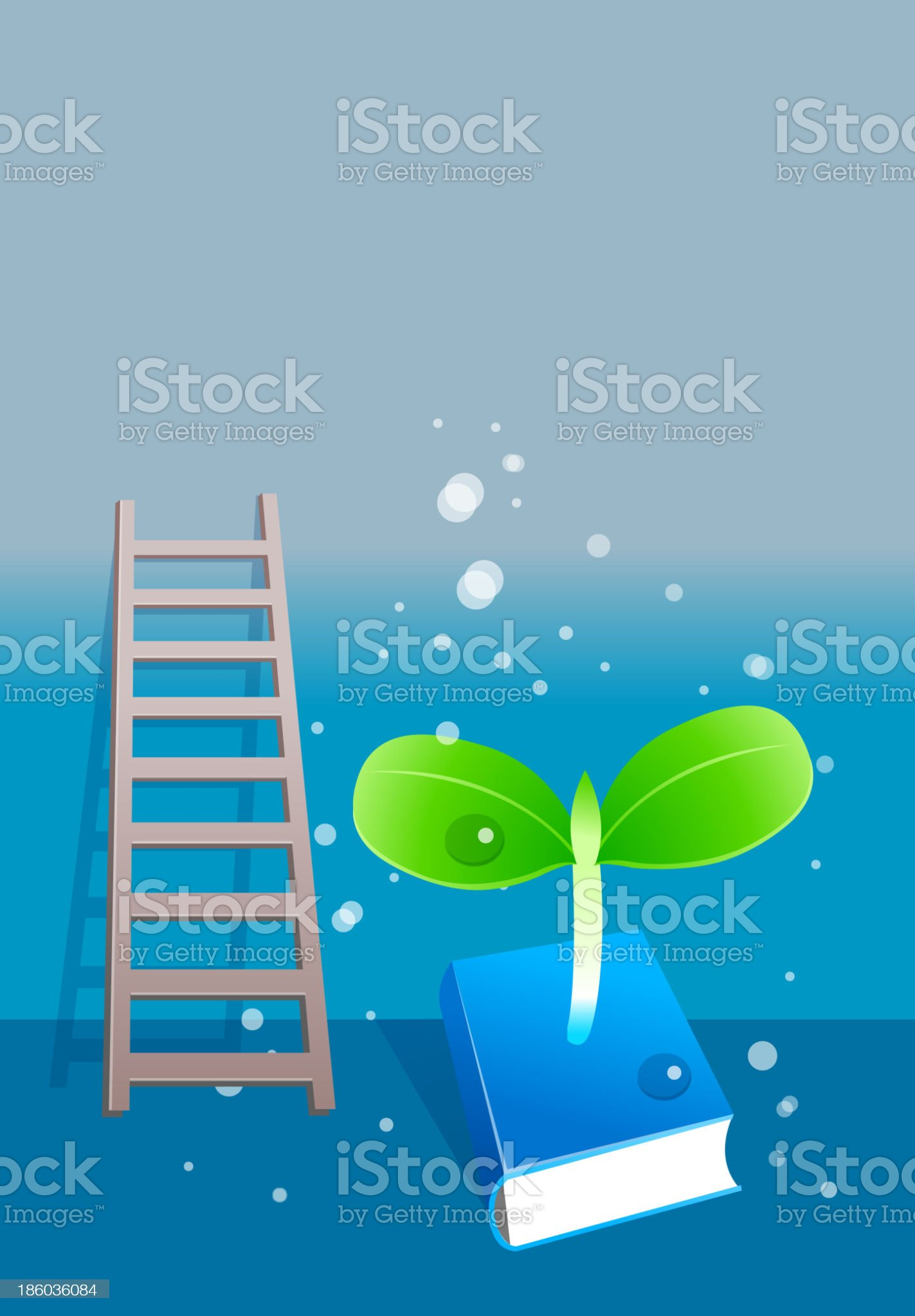 Plant sapling growing from book royalty-free stock vector art