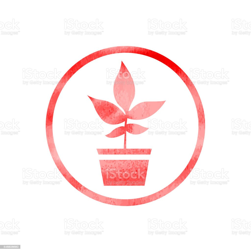 Plant with pot icon on watercolor Texture vector art illustration