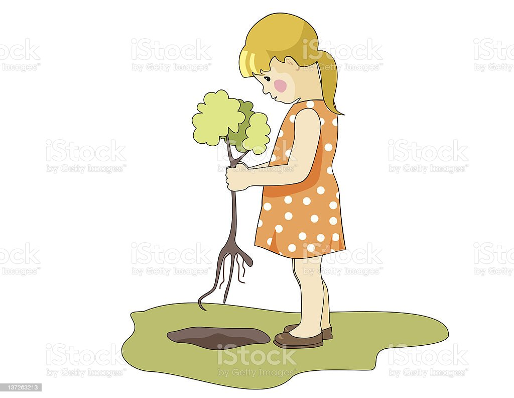planting a tree royalty-free stock vector art